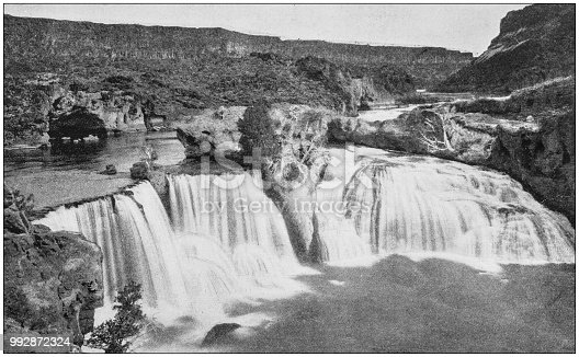 Antique photograph of America's famous landscapes: Bridal veil falls, Shoshone falls