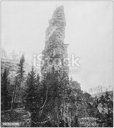 Antique photograph of America's famous landscapes: Cathedral Rock, Elk Creek Canyon, Black Hills