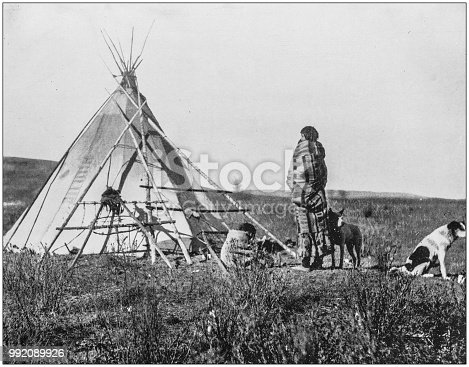 Antique photograph of America's famous landscapes: Cree Indians