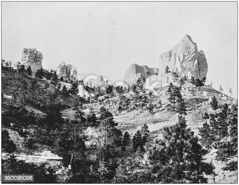 Antique photograph of America's famous landscapes: Crow Butte, Signal Rock, Dawes County, Nebraska