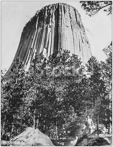 Antique photograph of America's famous landscapes: Devil's Tower of Vitrified Rock