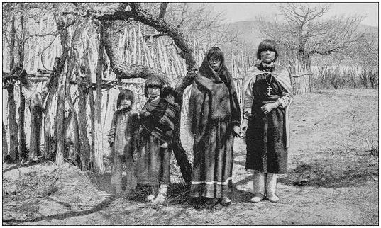 Antique photograph of America's famous landscapes: Family of Pueblo Indians, New Mexico
