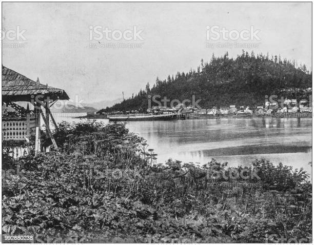 Antique photograph of America's famous landscapes: Fort Wrangel, Alaska