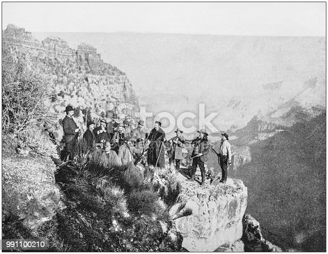 Antique photograph of America's famous landscapes: Grand Canyon, Buffalo Bill and party, Point Sublime
