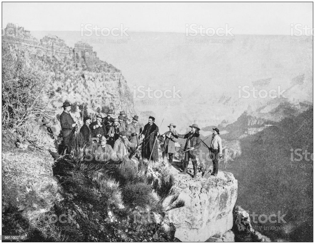 Antique photograph of America's famous landscapes: Grand Canyon, Buffalo Bill and party, Point Sublime stock photo