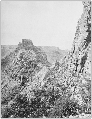 Antique photograph of America's famous landscapes: Grand Canyon, Pyramid Peak