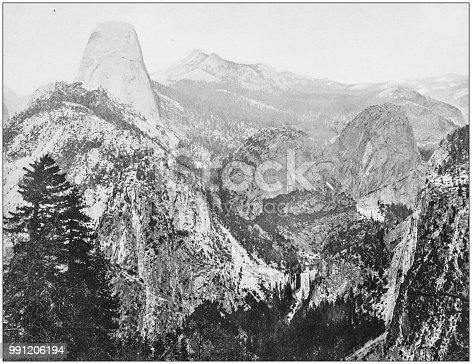 Antique photograph of America's famous landscapes: Half Dome and Cloud's Rest, Yosemite Valley