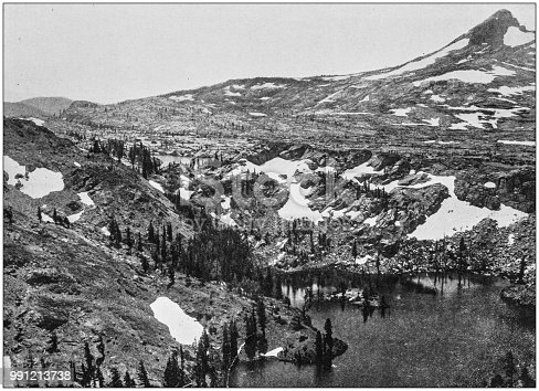 Antique photograph of America's famous landscapes: High Sierras, Susie Lake, Lake Tahoe