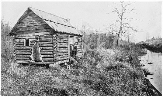Antique photograph of America's famous landscapes: Hunter's cabin, Canal, Dismal Swamp