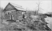 istock Antique photograph of America's famous landscapes: Hunter's cabin, Canal, Dismal Swamp 992747748