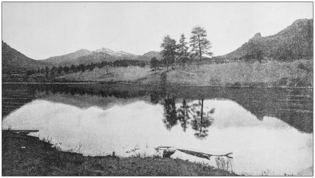 antique photograph of america's famous landscapes: mary lake and long's peak, estes park - estes park foto e immagini stock