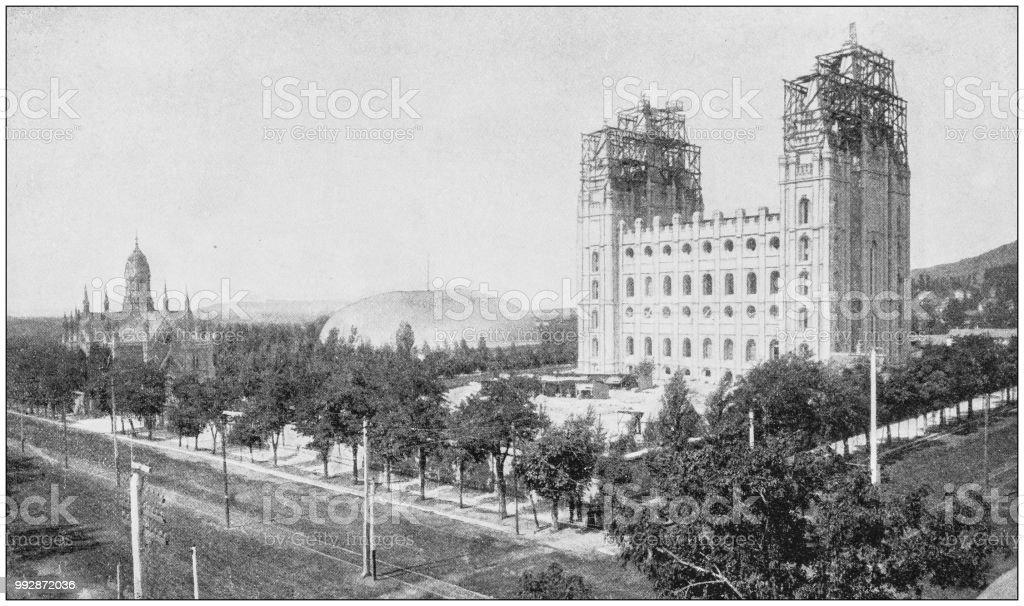 Antique photograph of America's famous landscapes: Mormon Temple, Salt Lake  City royalty-free - Antique Photograph Of Americas Famous Landscapes Mormon Temple Salt