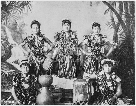 Antique photograph of America's famous landscapes: Native Girls of Hawaii
