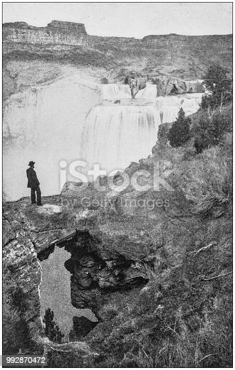 Antique photograph of America's famous landscapes: Natural Arch, Shoshone Falls