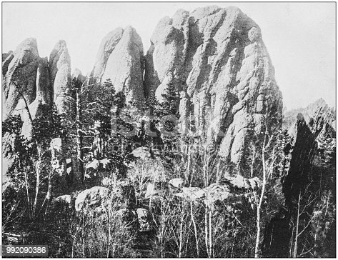 Antique photograph of America's famous landscapes: Needle Points, Harney's Peak, Black Hills