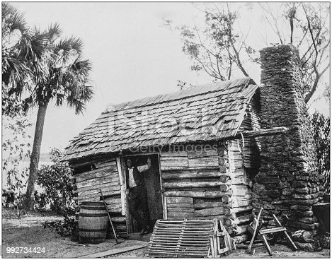 Antique photograph of America's famous landscapes: Old Cabin Home in Georgia