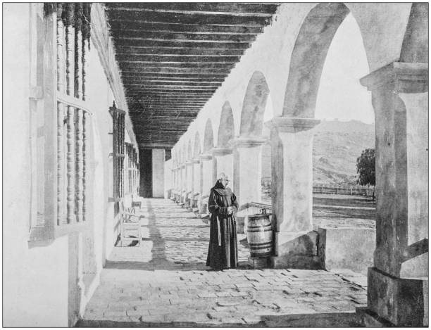 Antique photograph of America's famous landscapes: Old mission house, California Antique photograph of America's famous landscapes: Old mission house, California friar stock pictures, royalty-free photos & images