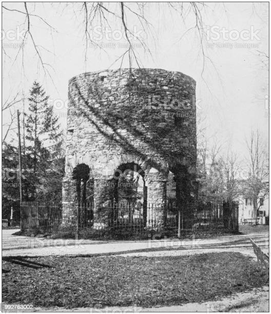 Antique photograph of America's famous landscapes: Old Tower, Newport, Rhode Island