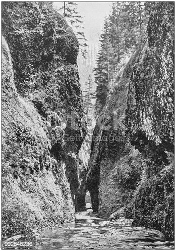 Antique photograph of America's famous landscapes: Oneonta Gorge, Columbia River