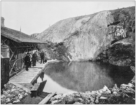 Antique photograph of America's famous landscapes: Pool at Banff Hot Springs, British America