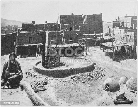 Antique photograph of America's famous landscapes: Pueblo Town, Arizona