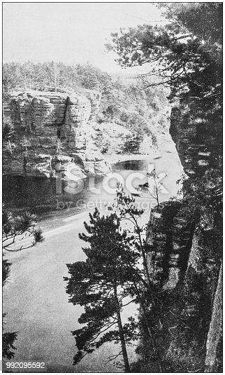 Antique photograph of America's famous landscapes: Romance Cliff, St Croix River