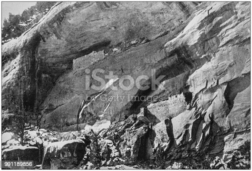 Antique photograph of America's famous landscapes: Ruins of Cliff Dwellers, Mancos Canyon, Colorado