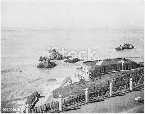 Antique photograph of America's famous landscapes: Seal Rocks, Cliff House, Golden Gate, San Francisco