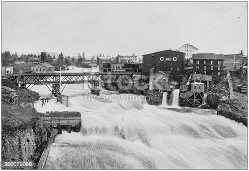 Antique photograph of America's famous landscapes: Spokane Falls, Washington