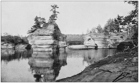 Antique photograph of America's famous landscapes: Sugarbowl, Dells of the Wisconsin