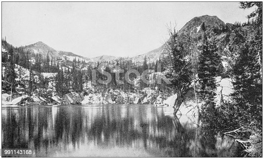 Antique photograph of America's famous landscapes: Twin Lakes, Cottonwood Canyon, Utah