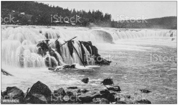 Antique photograph of America's famous landscapes: Willamette Falls, Oregon