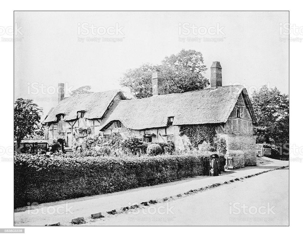 Antique photograph of Anne Hathaway's cottage (Shottery, England).-19th century picture stock photo