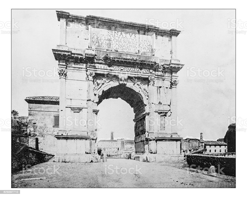 Antique photograph of Arch of Titus (Rome, Italy)-19th century picture. stock photo