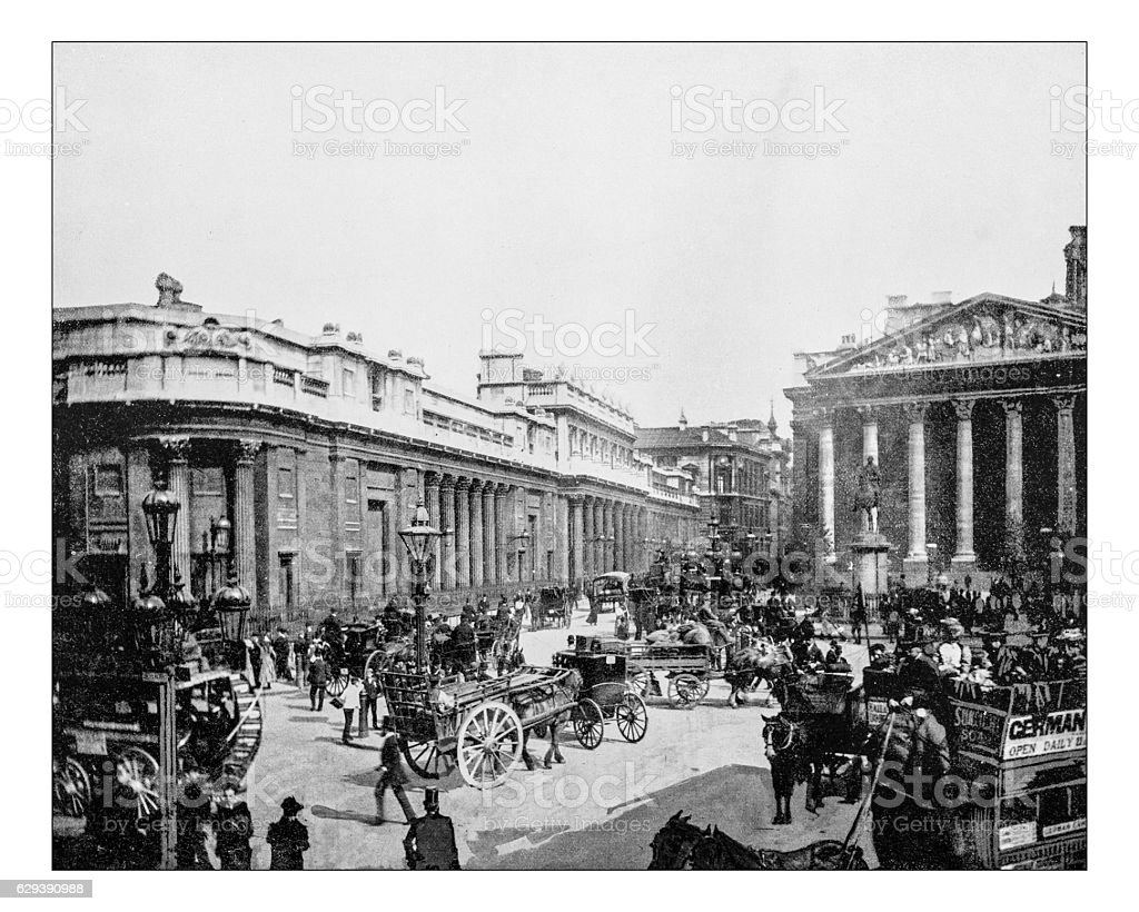 Antique photograph of Bank of England (London,England)-19th century picture stock photo