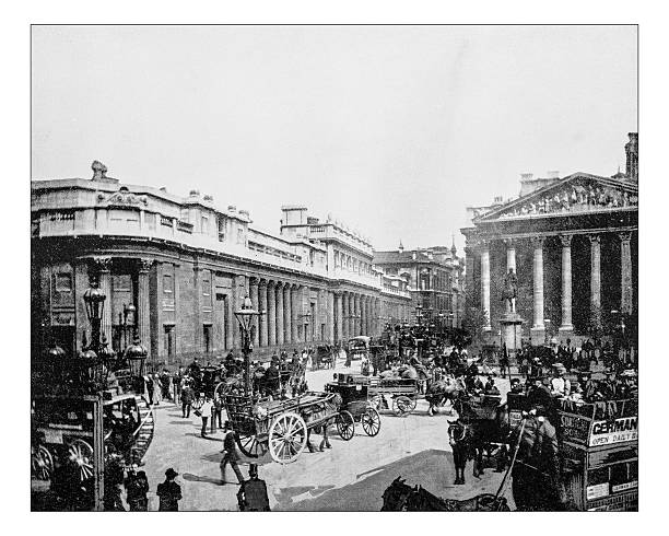 Antique photograph of Bank of England (London,England)-19th century picture Antique photograph of headquarters of the Bank of England in Threadneedle Street (London, England), the historical building depicted in a late 19th century picture 19th century stock pictures, royalty-free photos & images
