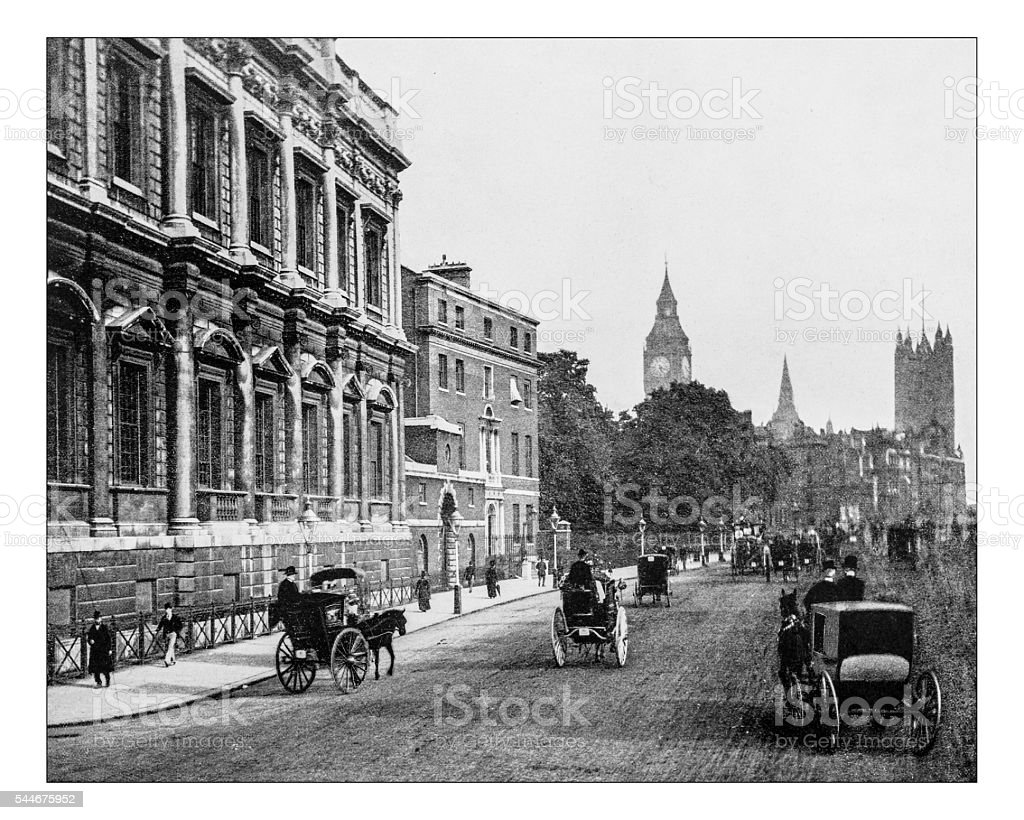 Antique photograph of Banqueting House, Whitehall (London, England)-19th century stock photo