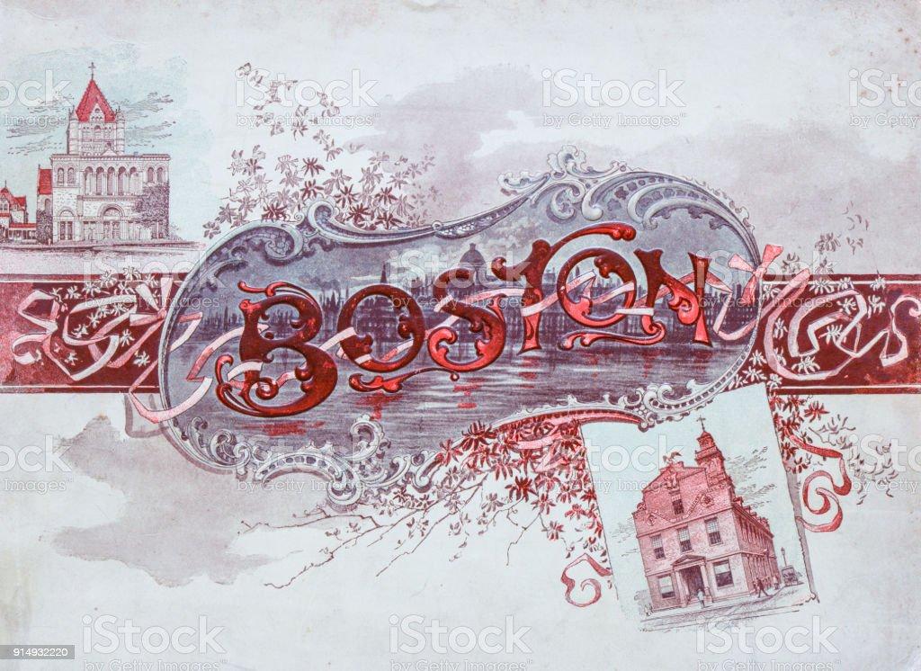 Antique photograph of Boston, Massachusetts, USA book cover stock photo