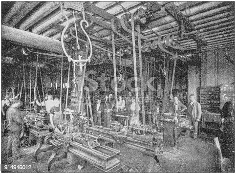 Antique photograph of Boston, Massachusetts, USA: Factory