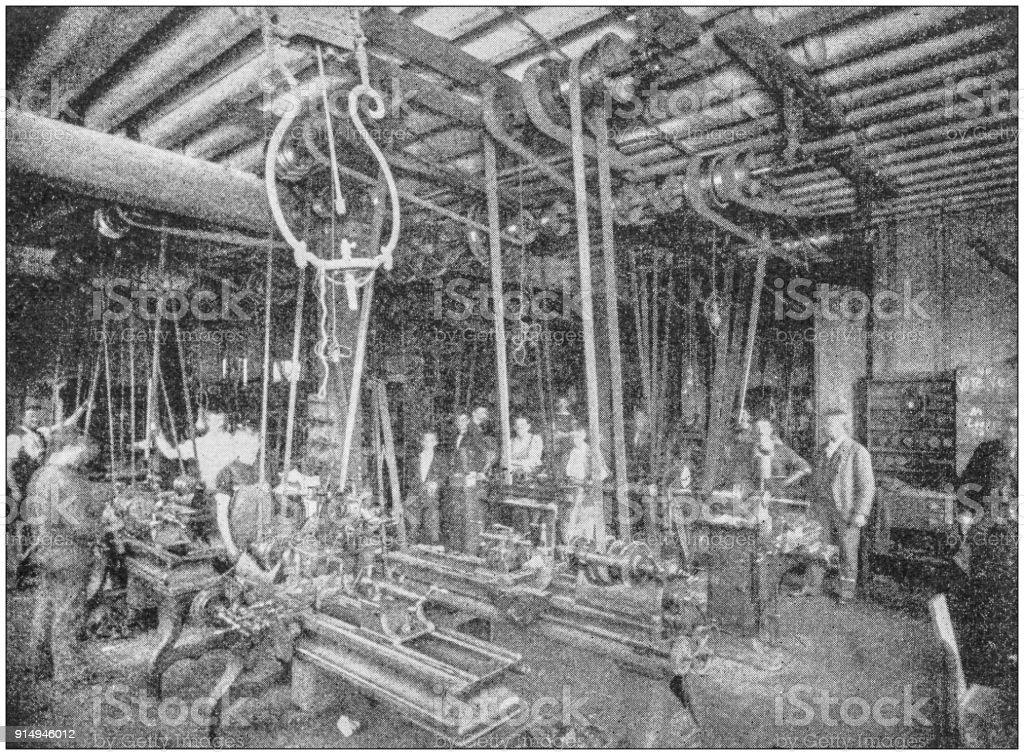 Antique photograph of Boston, Massachusetts, USA: Factory stock photo