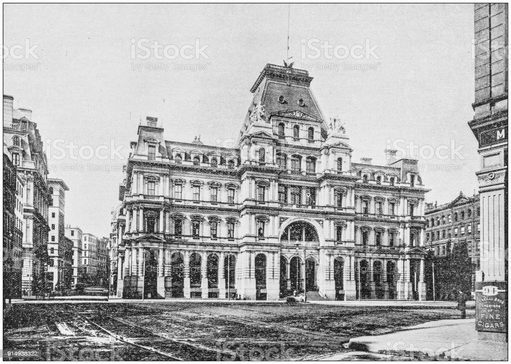 Antique photograph of Boston, Massachusetts, USA: General Post Office stock photo