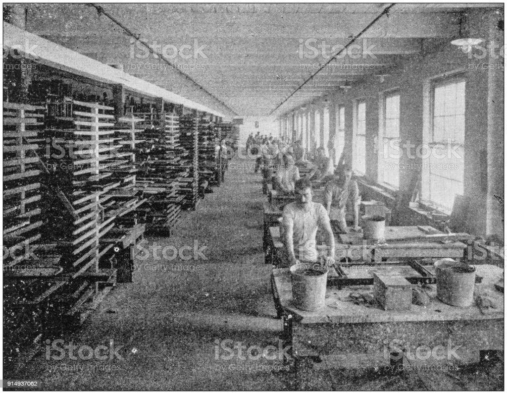 Antique photograph of Boston, Massachusetts, USA: Piano factory stock photo