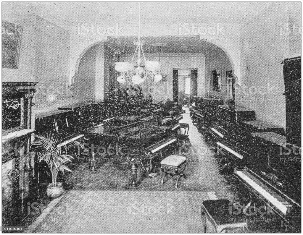 Antique photograph of Boston, Massachusetts, USA: Pianos stock photo