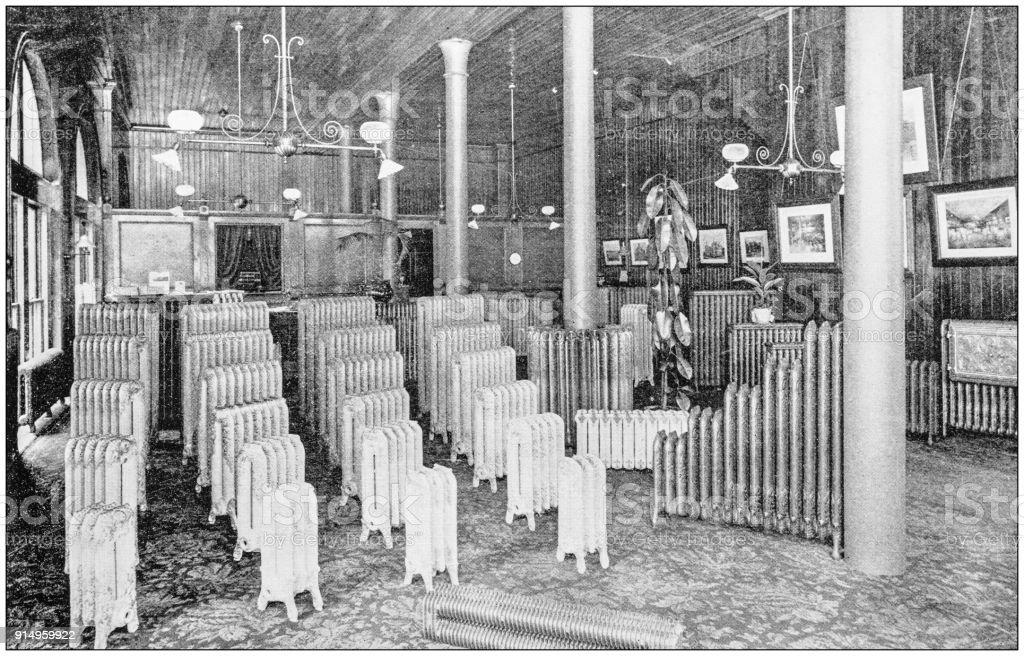 Antique photograph of Boston, Massachusetts, USA: Radiators stock photo