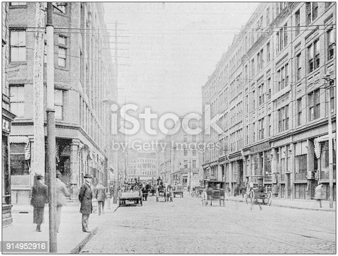 Antique photograph of Boston, Massachusetts, USA: South Street