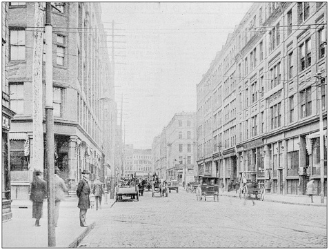 Antique photograph of Boston, Massachusetts, USA: South Street