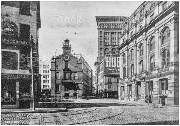 Antique photograph of Boston, Massachusetts, USA: State Street and Old State House