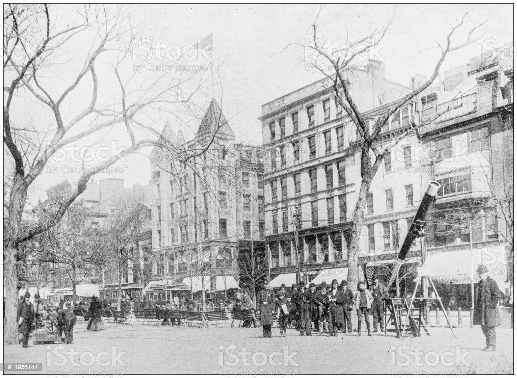 Antique photograph of Boston, Massachusetts, USA: Tremont Street stock photo