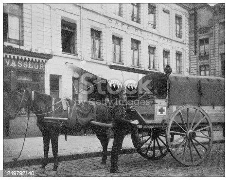 Antique photograph of British Navy and Army: Ambulance