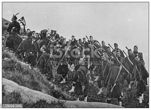 Antique photograph of British Navy and Army: Ascending Ben Nevis